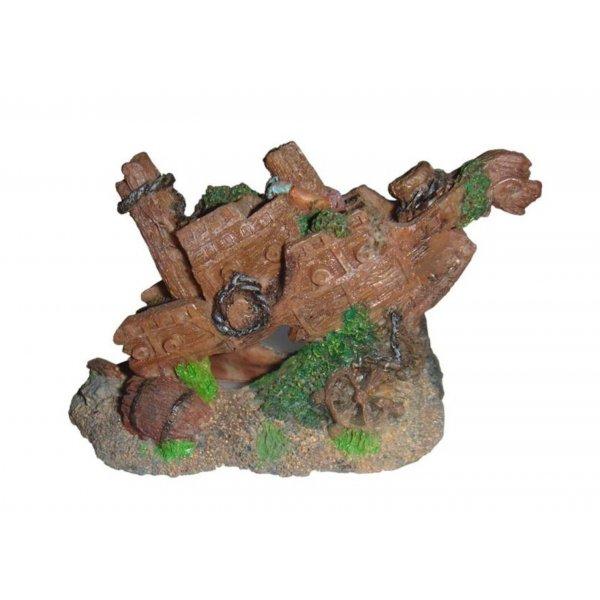 Ozdoba akwariowa Wraki okrętu na kamieniach - 10cm